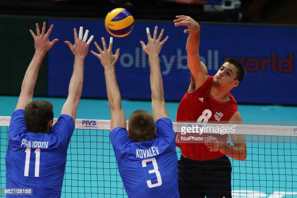 Torey Defalco Igor Philippov and Dmitry Kovalev during the FIVB Volleyball Nations League 2018 between USA and Russia at Palasport Panini on June 23...
