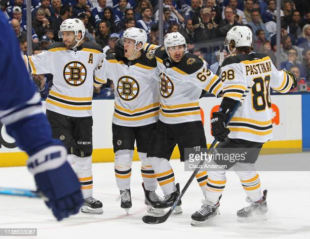 Torey Krug of the Boston Bruins celebrates a goal against the Toronto Maple Leafs in Game Six of the Eastern Conference First Round during the 2019...