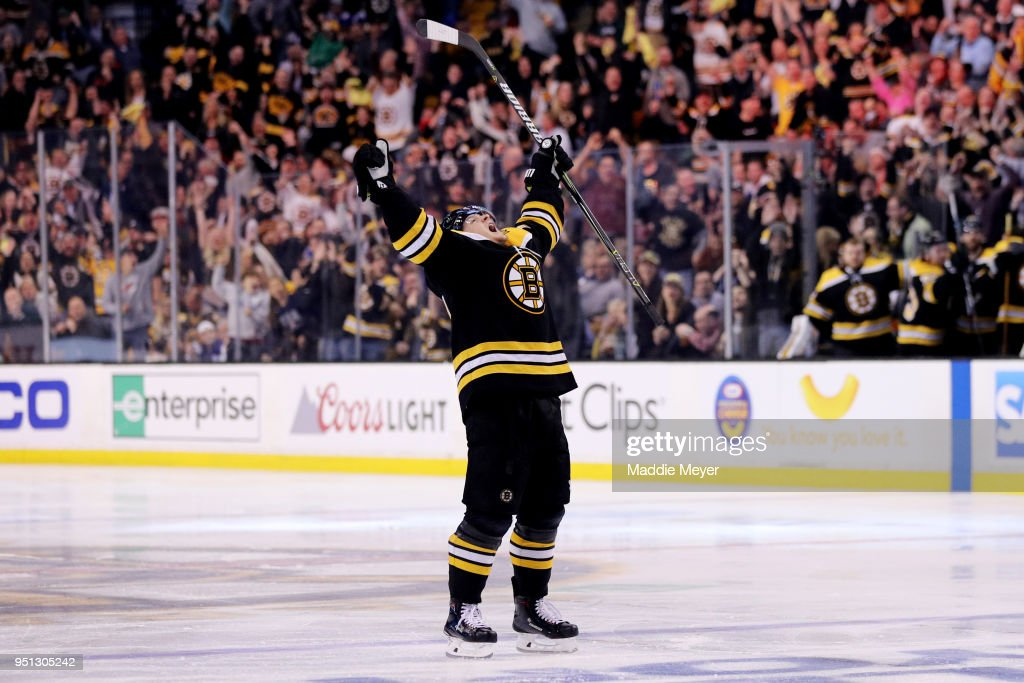 Torey Krug #47 of the Boston Bruins celebrates after scoring a goal against the Toronto Maple Leafs during the third period of Game Seven of the Eastern Conference First Round in the 2018 Stanley Cup play-offs at TD Garden on April 25, 2018 in Boston, Massachusetts. The Bruins defeat the Maple Leafs 7-4.