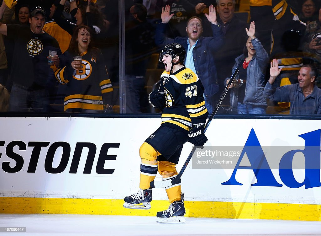 Torey Krug #47 of the Boston Bruins celebrates his goal in the third period against the Montreal Canadiens in Game One of the Second Round of the 2014 NHL Stanley Cup Playoffs on May 1, 2014 in Boston, Massachusetts.