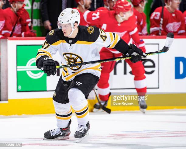 Torey Krug of the Boston Bruins follows the play against the Detroit Red Wings during an NHL game at Little Caesars Arena on February 9 2020 in...