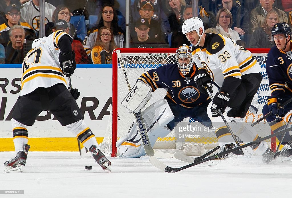 Torey Krug #47 of the Boston Bruins sets up a shot against Ryan Miller #30 of the Buffalo Sabres, watched by Zdeno Chara #33 of the Bruins, on October 23, 2013 at the First Niagara Center in Buffalo, New York. Boston defeated Buffalo, 5-2.