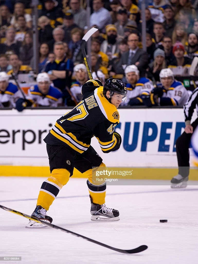 Torey Krug #47 of the Boston Bruins shoots the puck against the St. Louis Blues during the first period at TD Garden on November 22, 2016 in Boston, Massachusetts. The Blues won 4-2.