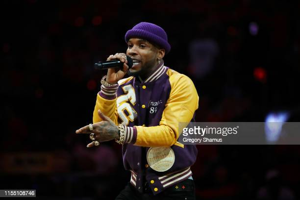 Torey Lanez performs during Game Five of the 2019 NBA Finals between the Golden State Warriors and the Toronto Raptors at Scotiabank Arena on June 10...