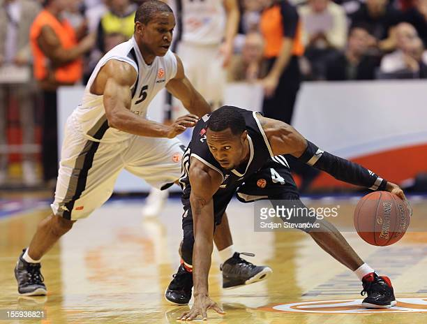 Torey Thomas of Partizan mts Belgrade in action against John GoldsBerry of Brose Baskets Bamberg during the 20122013 Turkish Airlines Euroleague...