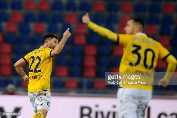Torgay Arslan of Udinese Calcio celebrates after scoring his team's second goal during the Serie A match between Bologna FC and Udinese Calcio at...