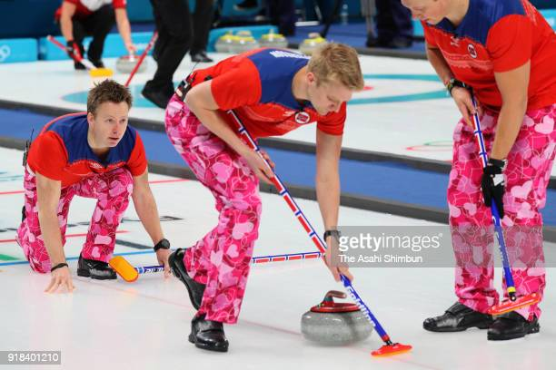 Torger Nergaard of Norway delivers the stone in the Curling Men's Round Robin Session 1 against Japan on day five of the PyeongChang Winter Olympic...