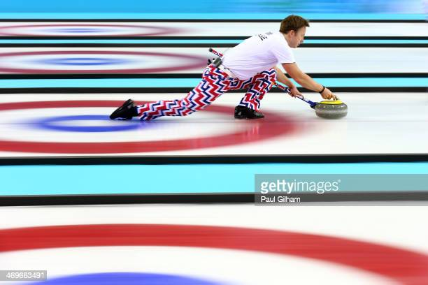 Torger Nergaard of Norway releases the stone during the Curling Men's Round Robin match between Great Britain and Norway on day 9 of the Sochi 2014...