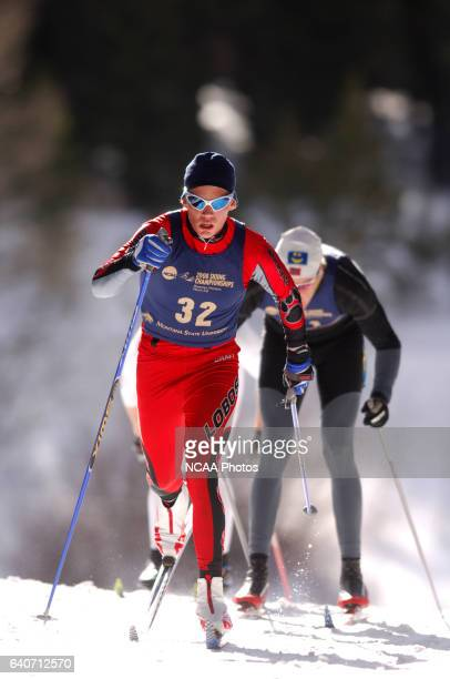 Torhakon Hellebostad of the University of New Mexico races in the Men's 20k classic during the Division I Men's and Women's Skiing Championships held...