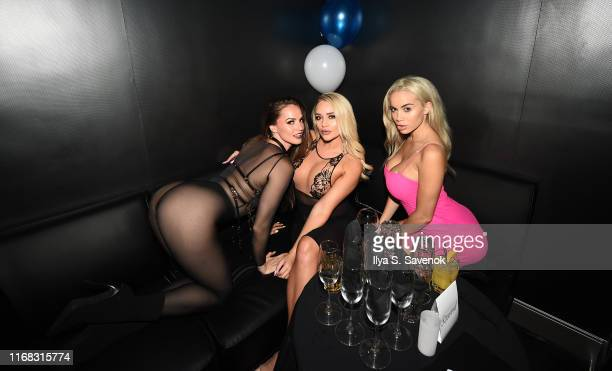Tori Black Alexis Monroe and Victoria June attend Sapphire Gentlemen's Club Debuts New Times Square Location on August 15 2019 in New York City