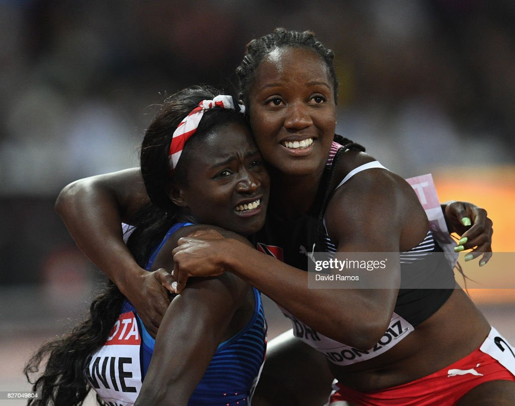 Tori Bowie of the United States celebrates winning gold with Kelly-Ann Baptiste of Trinidad and Tobago in the Women's 100 Metres Final during day three of the 16th IAAF World Athletics Championships London 2017 at The London Stadium on August 6, 2017 in London, United Kingdom.
