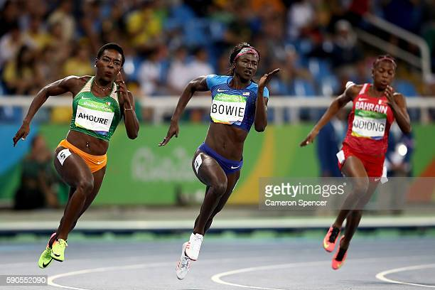Tori Bowie of the United States competes during the Women's 200m Semifinals on Day 11 of the Rio 2016 Olympic Games at the Olympic Stadium on August...