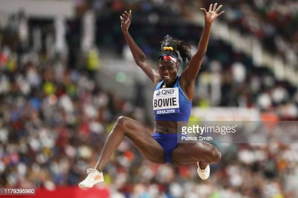 Tori Bowie of the United States competes in the Women's Long Jump final during day ten of 17th IAAF World Athletics Championships Doha 2019 at...