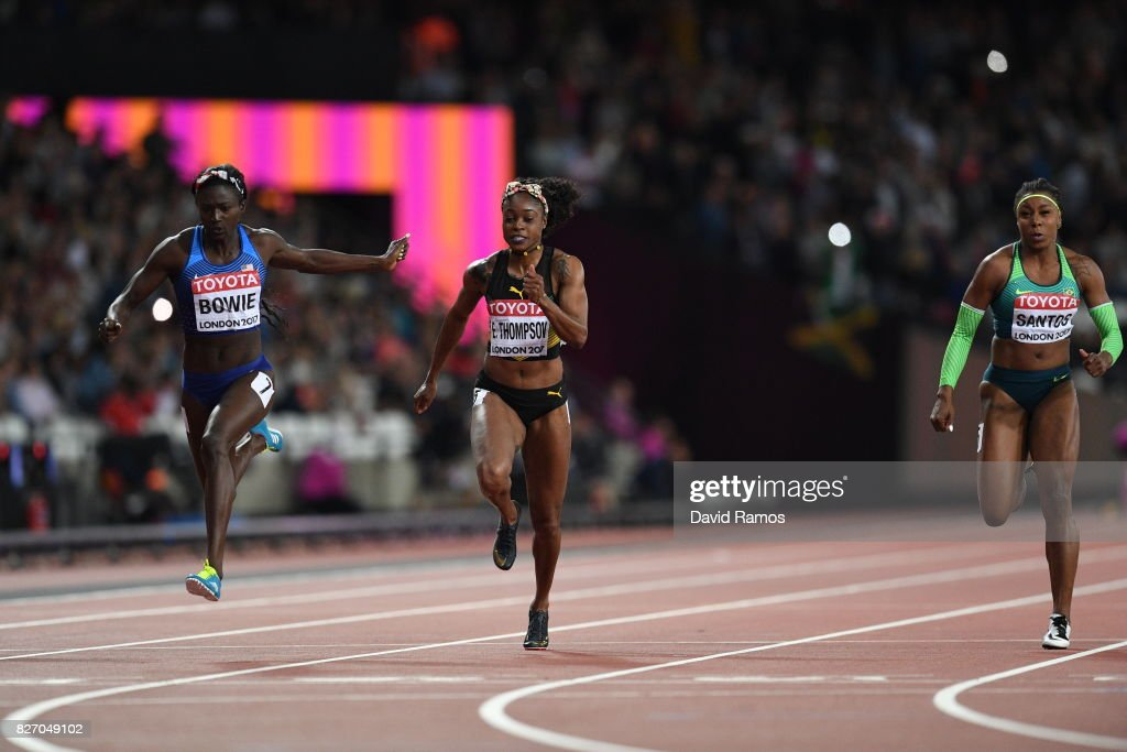Tori Bowie of the United States crosses the finish line to win the Women's 100 Metres Final ahead of Elaine Thompson of Jamaica during day three of the 16th IAAF World Athletics Championships London 2017 at The London Stadium on August 6, 2017 in London, United Kingdom.