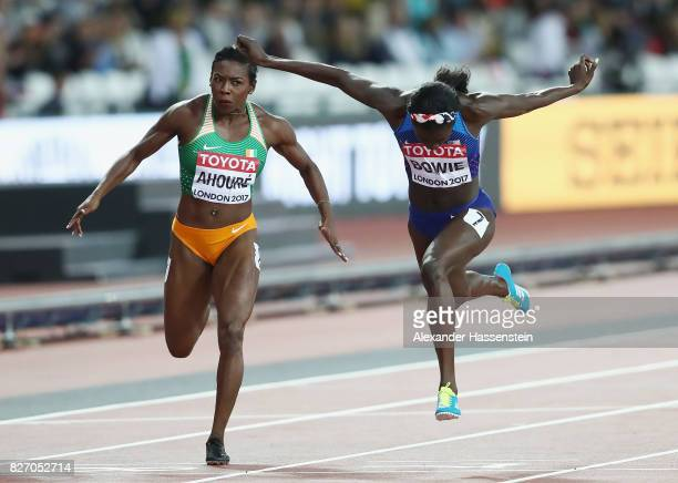 Tori Bowie of the United States crosses the finish line to win the Women's 100 Metres Final during day three of the 16th IAAF World Athletics...