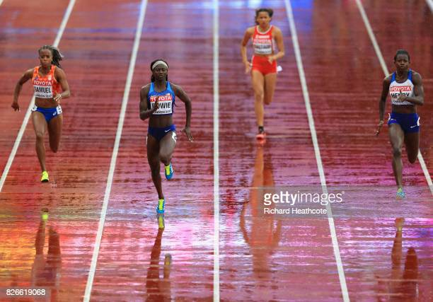 Tori Bowie of the United States leads during the womens 100m heats during day two of the 16th IAAF World Athletics Championships London 2017 at The...