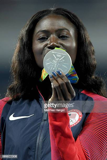 Tori Bowie of the United States poses with the silver medal for the Women's 100 meters on Day 9 of the Rio 2016 Olympic Games at the Olympic Stadium...