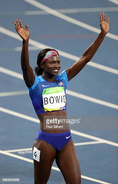 Tori Bowie of the United States reacts during the Women's 200m Semifinals on Day 11 of the Rio 2016 Olympic Games at the Olympic Stadium on August 16...