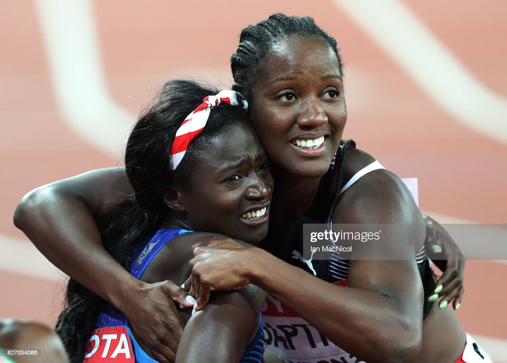 Tori Bowie of United States is congratulated by Kelly-Ann Baptise after winning the Women's 100m final during day three of the 16th IAAF World Athletics Championships London 2017 at The London Stadium on August 6, 2017 in London, United Kingdom.
