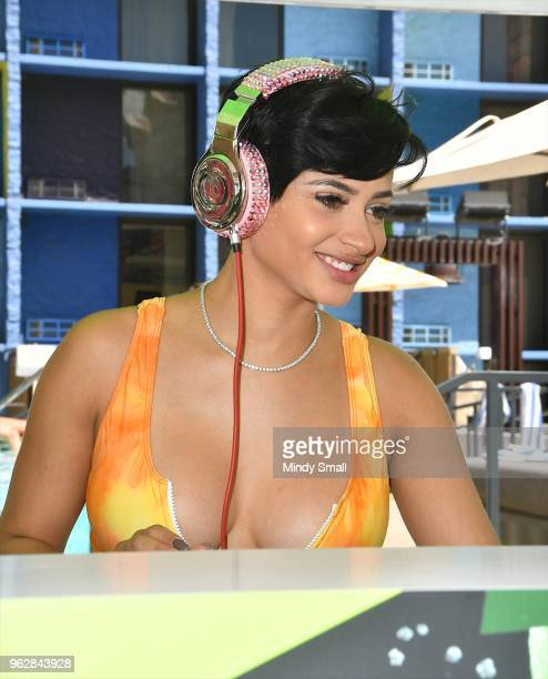 Tori Brixx performs at the pool at The Linq Hotel Casino on May 26 2018 in Las Vegas Nevada