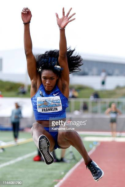 Tori Franklin competes in the women's long jump on the second day of the 61st Mt SAC Relays at Murdock Stadium at El Camino College on April 20 2019...