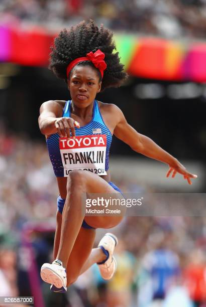 Tori Franklin of the United States competes in the Women's Triple Jump qualification during day two of the 16th IAAF World Athletics Championships...