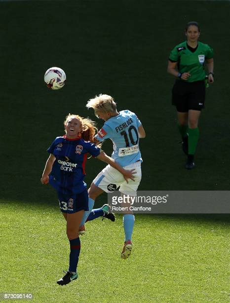 Tori Huster of the Jets and Jess Fishlock of Melbourne City compete for the ball during the round three WLeague match between Melbourne City and the...