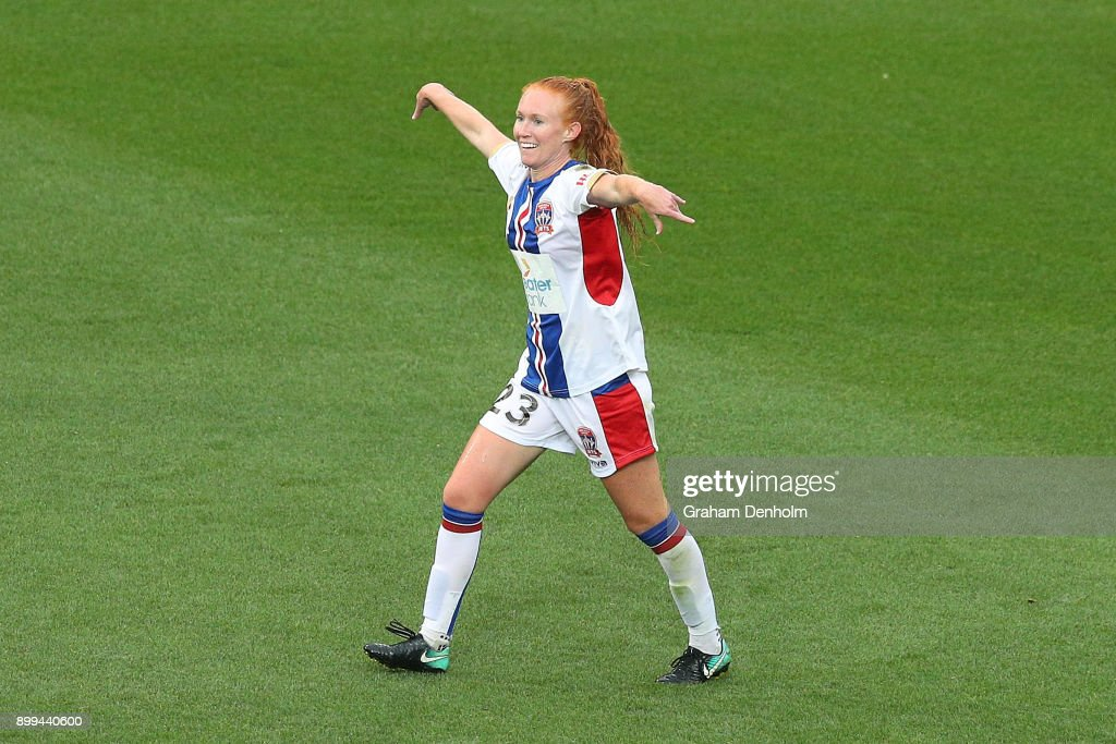 Tori Huster of the Jets celebrates her goal during the round nine W-League match between the Melbourne Victory and the Newcastle Jets at AAMI Park on December 29, 2017 in Melbourne, Australia.