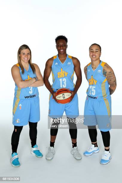 Tori Jankoska Shayla Cooper and Makayla Epps of the Chicago Sky poses for portraits during 2017 WNBA Media Day on May 10 2017 at Sachs Recreation...