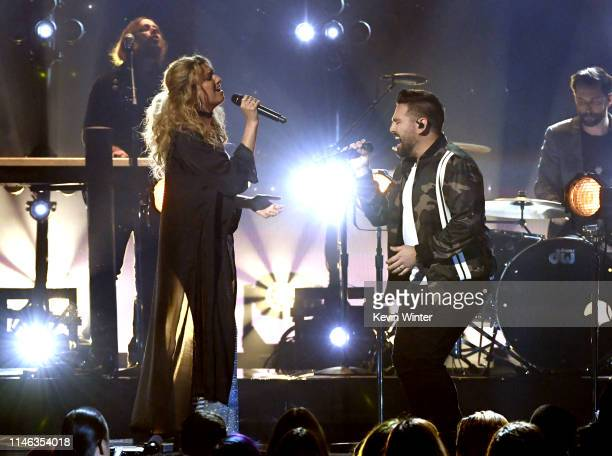 Tori Kelly and Shay Mooney of Dan Shay perform onstage during the 2019 Billboard Music Awards at MGM Grand Garden Arena on May 01 2019 in Las Vegas...