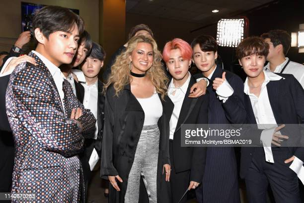 Tori Kelly is seen backstage with BTS during the 2019 Billboard Music Awards at MGM Grand Garden Arena on May 1 2019 in Las Vegas Nevada