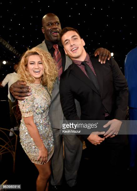 Tori Kelly Shaquille O'Neal and Andre Murillo attend the 2018 NBA Awards at Barkar Hangar on June 25 2018 in Santa Monica California