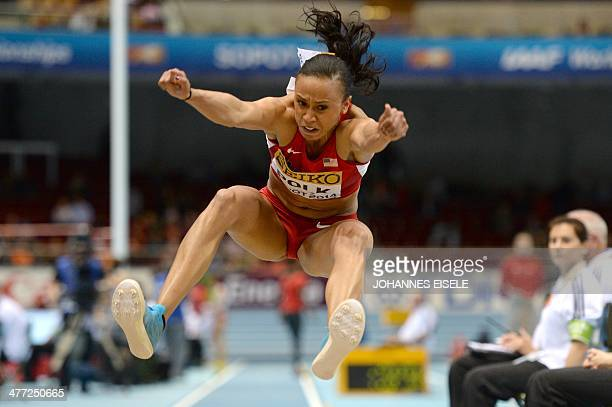 US Tori Polk competes in the Women's Long Jump qualification group A event at the IAAF World Indoor Athletics Championships in the Ergo Arena in the...