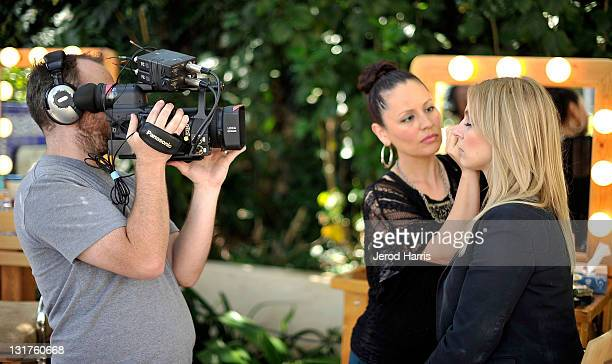 Tori Shulman host of Her Say films a segment at the Alison Brod Public Relations Los Angeles Summer Style Event on June 15 2011 in Beverly Hills...