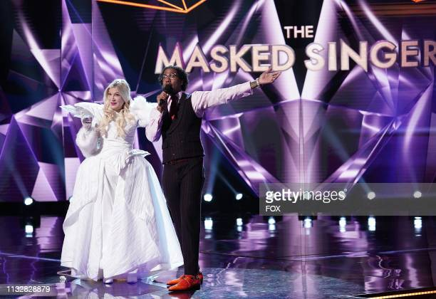 "Tori Speiing and host Nick Cannon in the ""Mix and Masks"" episode of THE MASKED SINGER airing Wednesday, Jan. 30 on FOX."