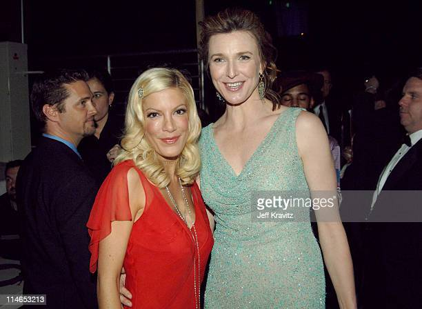 Tori Spelling and Brenda Strong during 2005 TV Land Awards Backstage at Barker Hangar in Santa Monica California United States