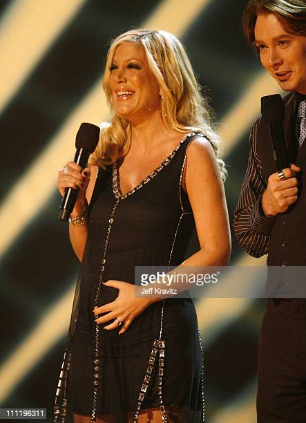Tori Spelling and Clay Aiken presenters during 2006 American Music Awards Show at Shrine Auditorium in Los Angeles CA United States