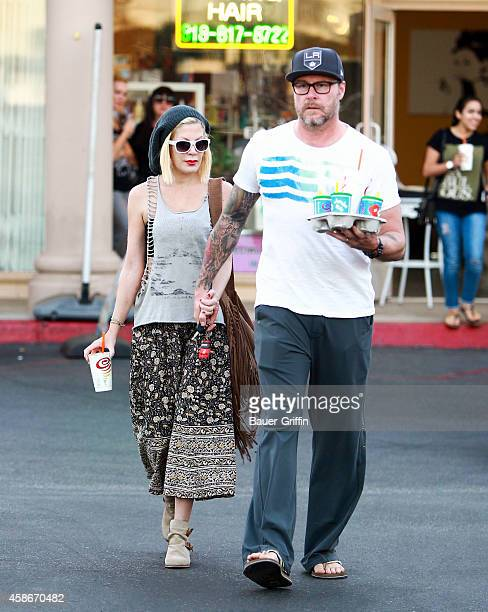Tori Spelling and Dean McDermott are seen on November 08, 2014 in Los Angeles, California.