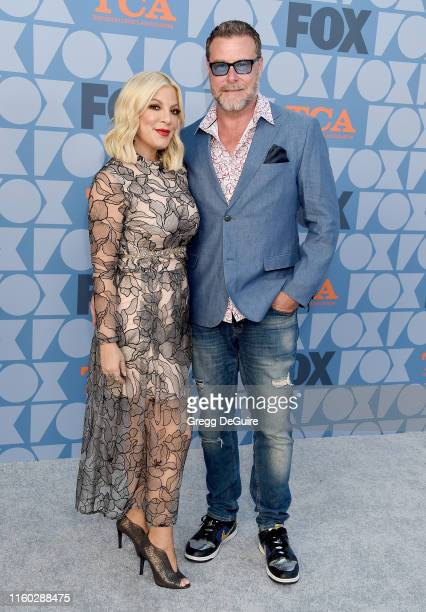 Tori Spelling and Dean McDermott arrive at the FOX Summer TCA 2019 All-Star Party at Fox Studios on August 7, 2019 in Los Angeles, California.