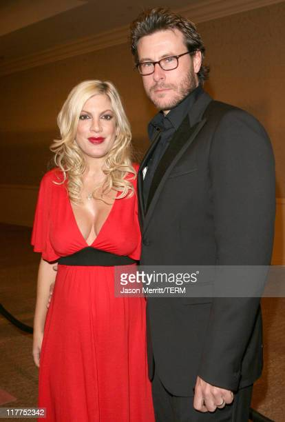 """Tori Spelling and Dean McDermott during """"Beverly Hills 90210"""" and """"Melrose Place"""" DVD Launch Party - Pink Carpet at Beverly Hilton in Beverly Hills,..."""
