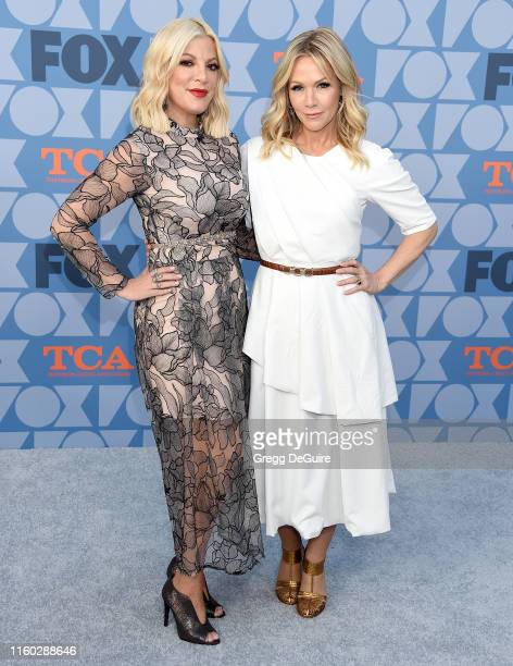 Tori Spelling and Jennie Garth arrive at the FOX Summer TCA 2019 All-Star Party at Fox Studios on August 7, 2019 in Los Angeles, California.