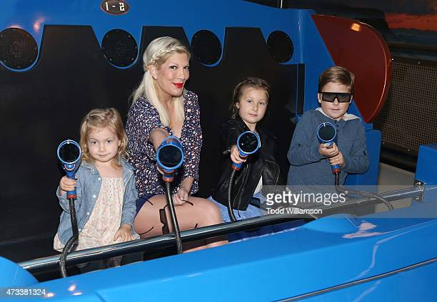 Tori Spelling and kids Hattie McDermott Stella McDermott and Liam McDermott ride Knott's Berry Farm's newest ride Voyage To The Iron Reef at Knott's...