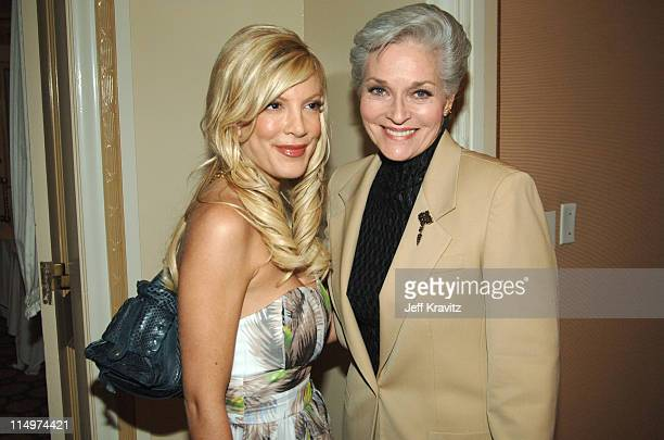 Tori Spelling and Lee Meriwether during 2006 TCA MTV Networks Green Room at Ritz Carlton Hotel Pavilion Room in Pasadena California United States