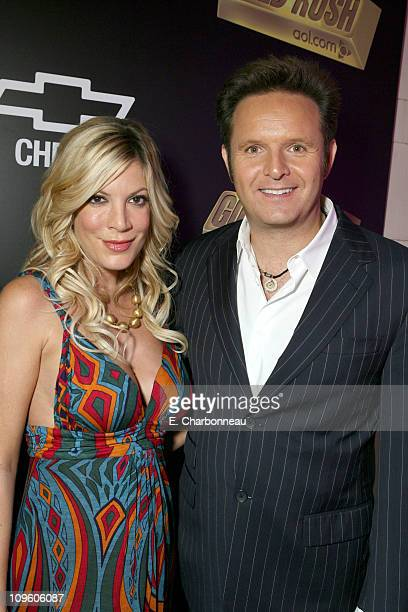 Tori Spelling and Mark Burnett during Mark Burnett and AOL Celebrate the Launch of GOLD RUSH Red Carpet and Inside at Les Deux in Hollywood...