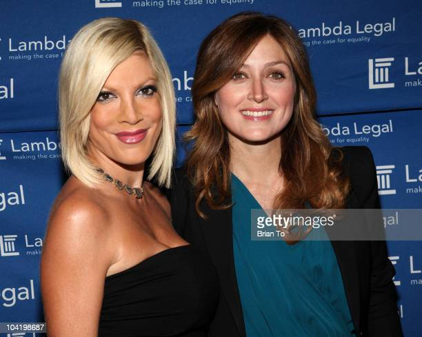 Tori Spelling and Sasha Alexander attend Lambda Legal's 18th annual Liberty Awards at the Egyptian Theatre on September 16 2010 in Hollywood...