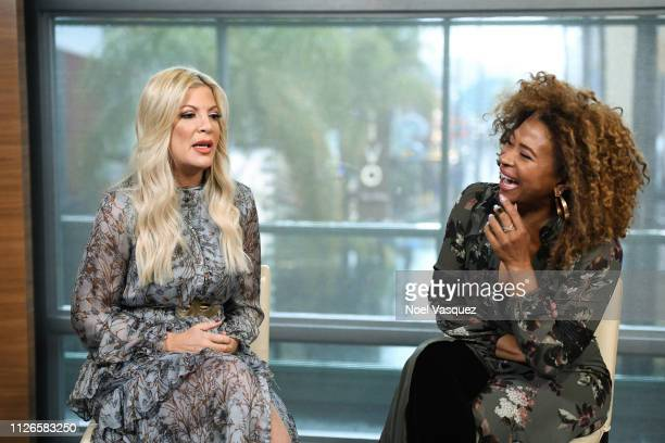 Tori Spelling and Tanika Ray visit 'Extra' at Universal Studios Hollywood on January 31 2019 in Universal City California
