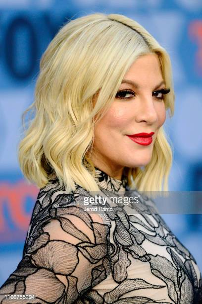 Tori Spelling arrives at FOX Summer TCA 2019 All-Star Party at Fox Studios on August 07, 2019 in Los Angeles, California.