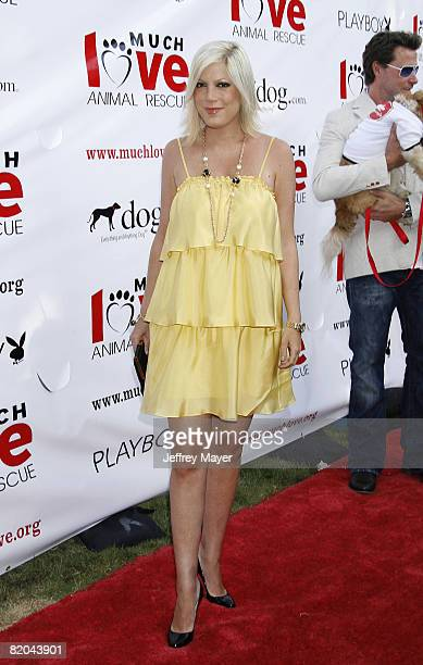 Tori Spelling arrives at the Much Love Animal Rescue Presents The Second Annual Bow Wow WOW at The Playboy Mansion on July 19 2008 in Beverly Hills...