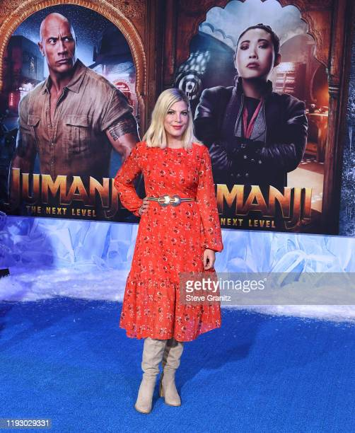 Tori Spelling arrives at the Premiere Of Sony Pictures' Jumanji The Next Level on December 09 2019 in Hollywood California