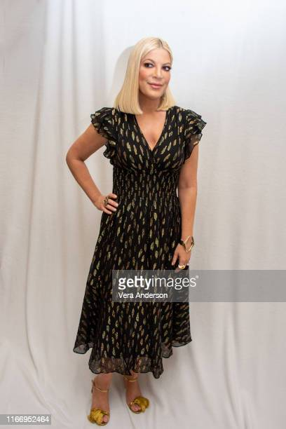 """Tori Spelling at the """"BH90210"""" Press Conference at the Four Seasons Hotel on August 08, 2019 in Beverly Hills, California."""